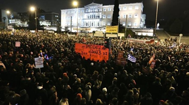Από τη συγκέντρωση της προηγούμενης Τετάρτης ενάντια στους εκβιασμούς της ΕΕ. Φωτό από left.gr