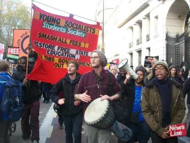 Από διαδήλωση των φοιτητών των Νέων Σοσιαλιστών στο Λονδίνο.