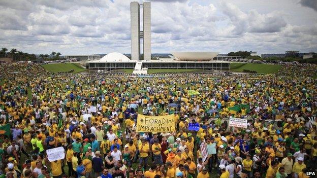 Από τη συγκέντρωση της περασμένης Κυριακής στη Μπραζίλια.