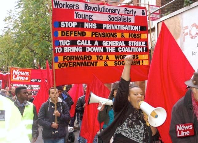 Από διαδήλωση του Επαναστατικού Κόμματος Εργατών στο Λονδίνο, 16/11/14. Φωτό News Line.
