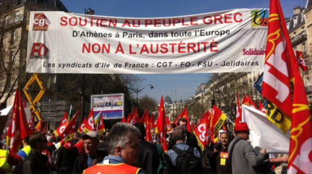 Από προηγούμενη πορεία ενάντια στην λιτότητα στη Γαλλία.