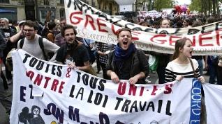 Από τις διαδηλώσεις στο Παρίσι ενάντια στον αντεργατικό νόμο Χομρί. Φωτό Συνομοσπονδία FO.